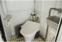 Equipped with a toilet with a small septic tank next to the cabin