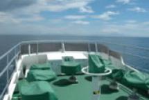 景色やクジラ、イルカなどが見やすい2階フライデッキ