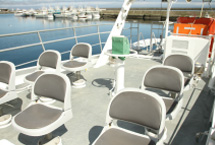 It also has chairs on the flying bridge deck on the 2nd floor.