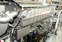 Yanmar's latest electronically-controlled engine with less vibration, which can suppress the emission of black smoke.